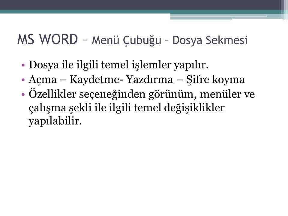 MS WORD – Menü Çubuğu – Dosya Sekmesi Dosya ile ilgili temel işlemler yapılır. Açma – Kaydetme- Yazdırma – Şifre koyma Özellikler seçeneğinden görünüm