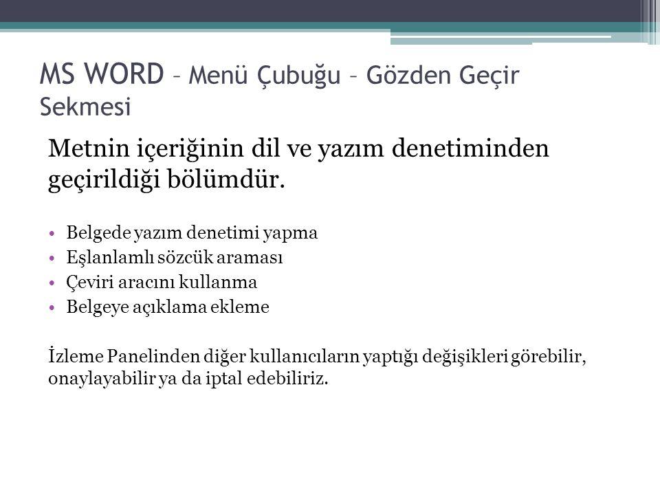 MS WORD – Menü Çubuğu – Gözden Geçir Sekmesi Metnin içeriğinin dil ve yazım denetiminden geçirildiği bölümdür. Belgede yazım denetimi yapma Eşlanlamlı