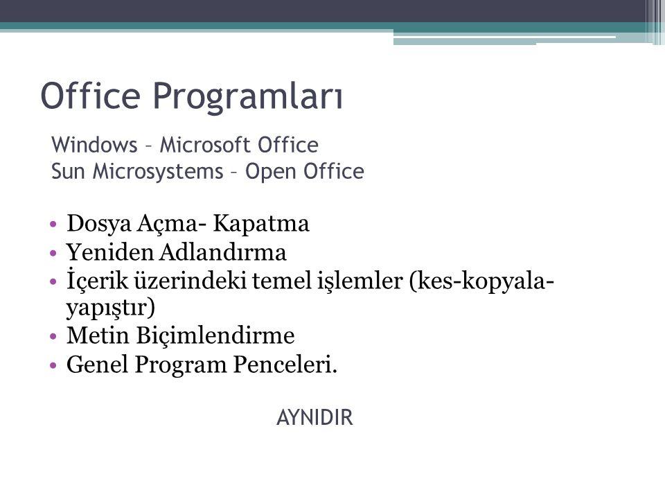 Office Programları Windows – Microsoft Office Sun Microsystems – Open Office Dosya Açma- Kapatma Yeniden Adlandırma İçerik üzerindeki temel işlemler (