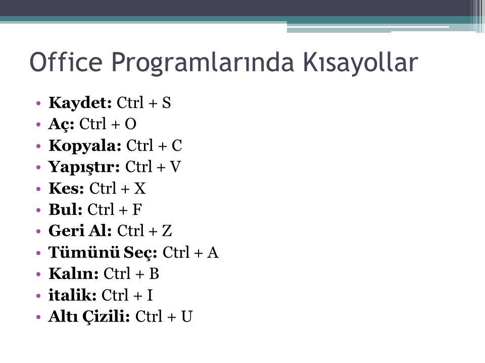 Office Programlarında Kısayollar Kaydet: Ctrl + S Aç: Ctrl + O Kopyala: Ctrl + C Yapıştır: Ctrl + V Kes: Ctrl + X Bul: Ctrl + F Geri Al: Ctrl + Z Tümü