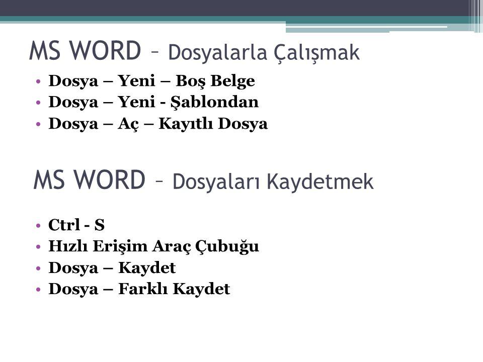 MS WORD – Dosyalarla Çalışmak Dosya – Yeni – Boş Belge Dosya – Yeni - Şablondan Dosya – Aç – Kayıtlı Dosya MS WORD – Dosyaları Kaydetmek Ctrl - S Hızl
