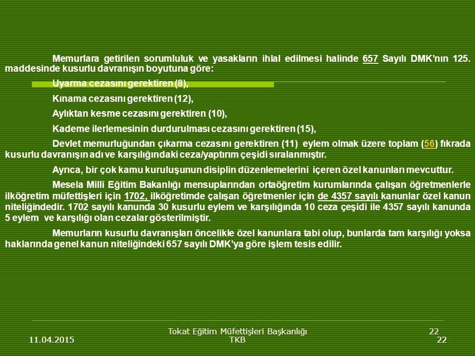 Tokat Eğitim Müfettişleri Başkanlığı22 11.04.201522 Memurlara getirilen sorumluluk ve yasakların ihlal edilmesi halinde 657 Sayılı DMK'nın 125.