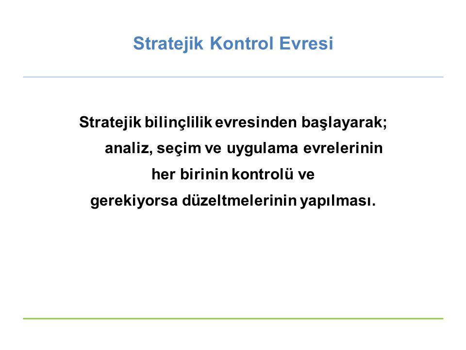 Stratejik Kontrol Evresi Stratejik bilinçlilik evresinden başlayarak; analiz, seçim ve uygulama evrelerinin her birinin kontrolü ve gerekiyorsa düzelt