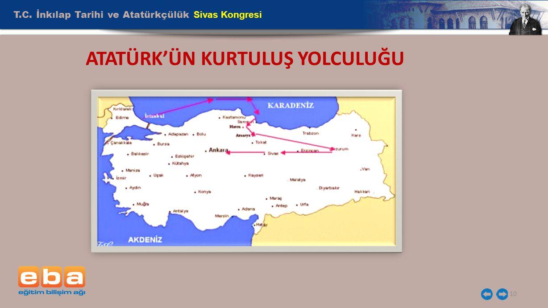 T.C. İnkılap Tarihi ve Atatürkçülük Sivas Kongresi 10 ATATÜRK'ÜN KURTULUŞ YOLCULUĞU