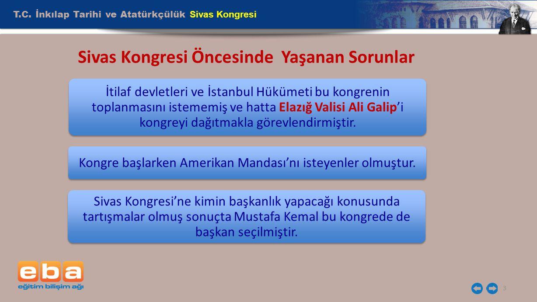 T.C. İnkılap Tarihi ve Atatürkçülük Sivas Kongresi 3 Sivas Kongresi Öncesinde Yaşanan Sorunlar İtilaf devletleri ve İstanbul Hükümeti bu kongrenin top