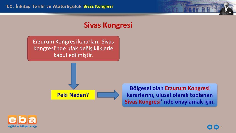 T.C. İnkılap Tarihi ve Atatürkçülük Sivas Kongresi 5 Sivas Kongresi Erzurum Kongresi kararları, Sivas Kongresi'nde ufak değişikliklerle kabul edilmişt