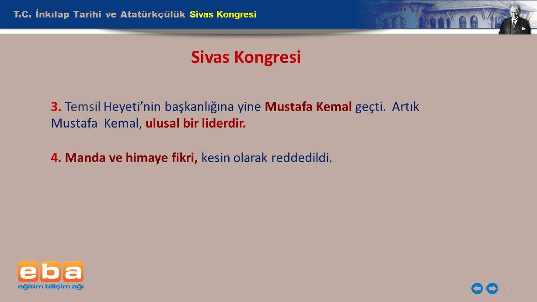 T.C. İnkılap Tarihi ve Atatürkçülük Sivas Kongresi 7 Sivas Kongresi 3. Temsil Heyeti'nin başkanlığına yine Mustafa Kemal geçti. Artık Mustafa Kemal, u
