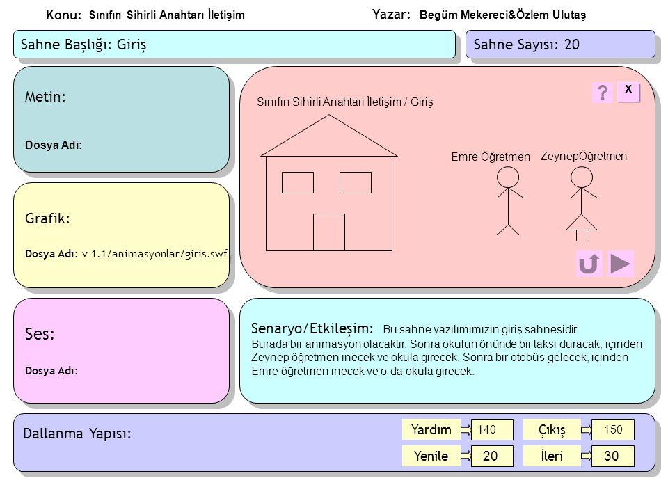 Yazar: Konu: Metin: Dosya Adı: sahne30/metin/hedef.doc Metin: Dosya Adı: sahne30/metin/hedef.doc Ses-Video: Dosya Adı: Ses-Video: Dosya Adı: Grafik: Dosya Adı: v 1.1/animasyonlar/ hedef.swf Grafik: Dosya Adı: v 1.1/animasyonlar/ hedef.swf Sınıfın Sihirli Anahtarı İletişim / Eğitim Hakkında Senaryo/Etkileşim: Bu sahne de Zeynep ve Emre öğretmenler hangi okulda çalıştıkları ve yazılımın hedefleri hakkında bilgi verecekler.