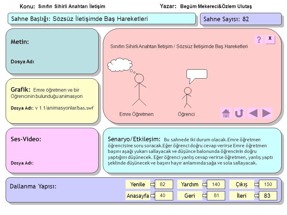 Yazar: Konu: Metin: Dosya Adı: sahne83/metin/ifadeler.doc Metin: Dosya Adı: sahne83/metin/ifadeler.doc Ses-Video: Dosya Adı: Ses-Video: Dosya Adı: Grafik: Öğretmenin ve öğrencilerin Bulunduğu animasyon Dosya Adı: v 1.1/animasyonlar/ ifadeler.swf Grafik: Öğretmenin ve öğrencilerin Bulunduğu animasyon Dosya Adı: v 1.1/animasyonlar/ ifadeler.swf Senaryo/Etkileşim: Bu ekranda 3 öğrenci ve Emre Öğretmenin bulunduğu bir animasyon olacak.