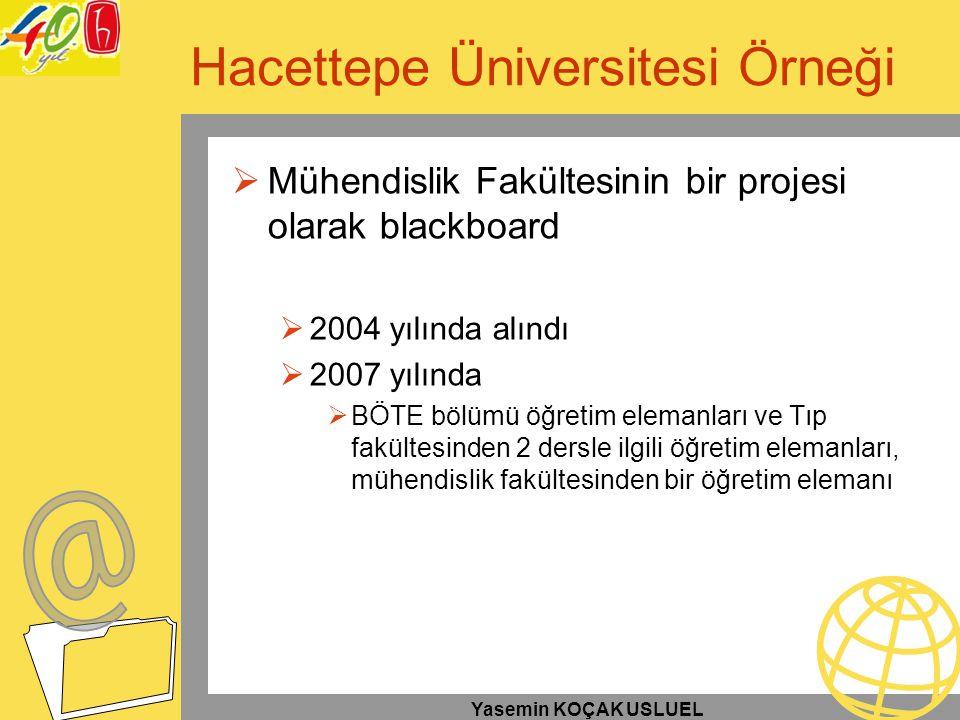Yasemin KOÇAK USLUEL Hacettepe Üniversitesi Örneği  Mühendislik Fakültesinin bir projesi olarak blackboard  2004 yılında alındı  2007 yılında  BÖT