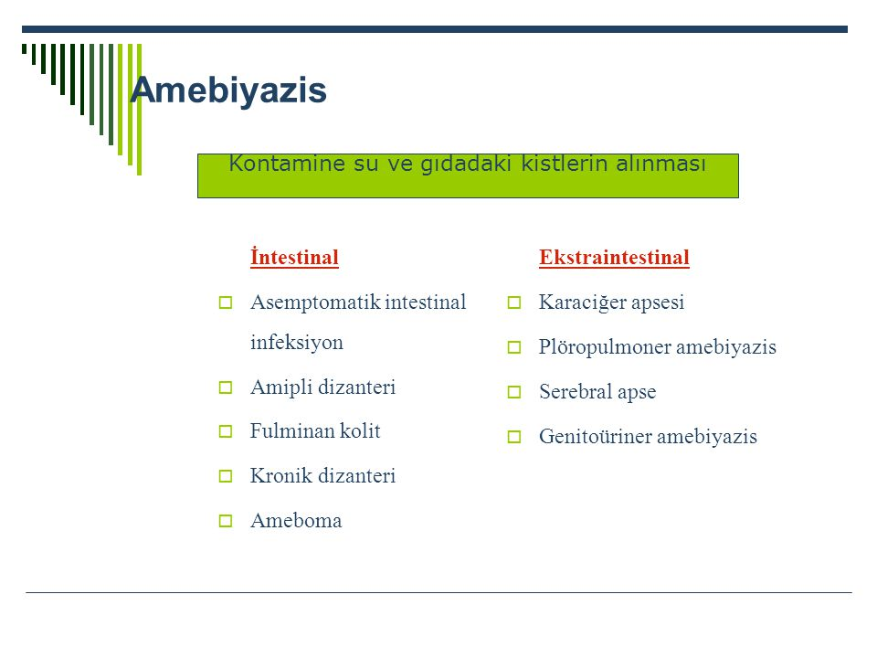 Amebiyazis İntestinal  Asemptomatik intestinal infeksiyon  Amipli dizanteri  Fulminan kolit  Kronik dizanteri  Ameboma Ekstraintestinal  Karaciğ