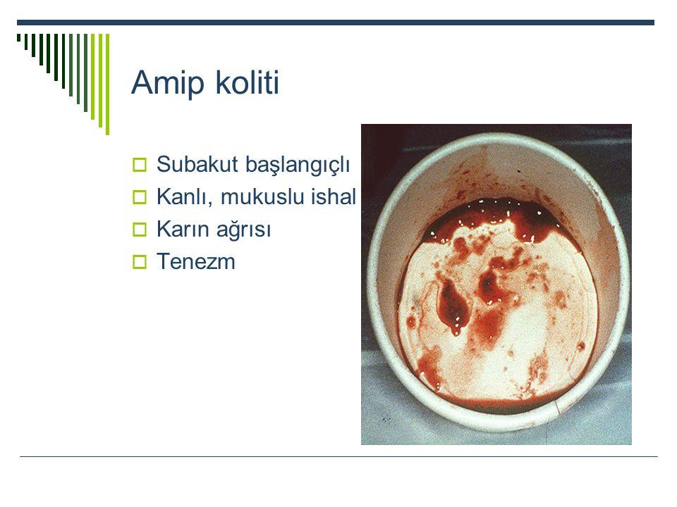 Amip koliti  Subakut başlangıçlı  Kanlı, mukuslu ishal  Karın ağrısı  Tenezm