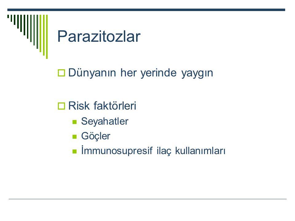 Parazitozlar  Dünyanın her yerinde yaygın  Risk faktörleri Seyahatler Göçler İmmunosupresif ilaç kullanımları
