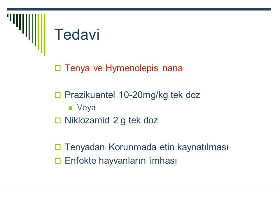 Tedavi  Tenya ve Hymenolepis nana  Prazikuantel 10-20mg/kg tek doz Veya  Niklozamid 2 g tek doz  Tenyadan Korunmada etin kaynatılması  Enfekte ha