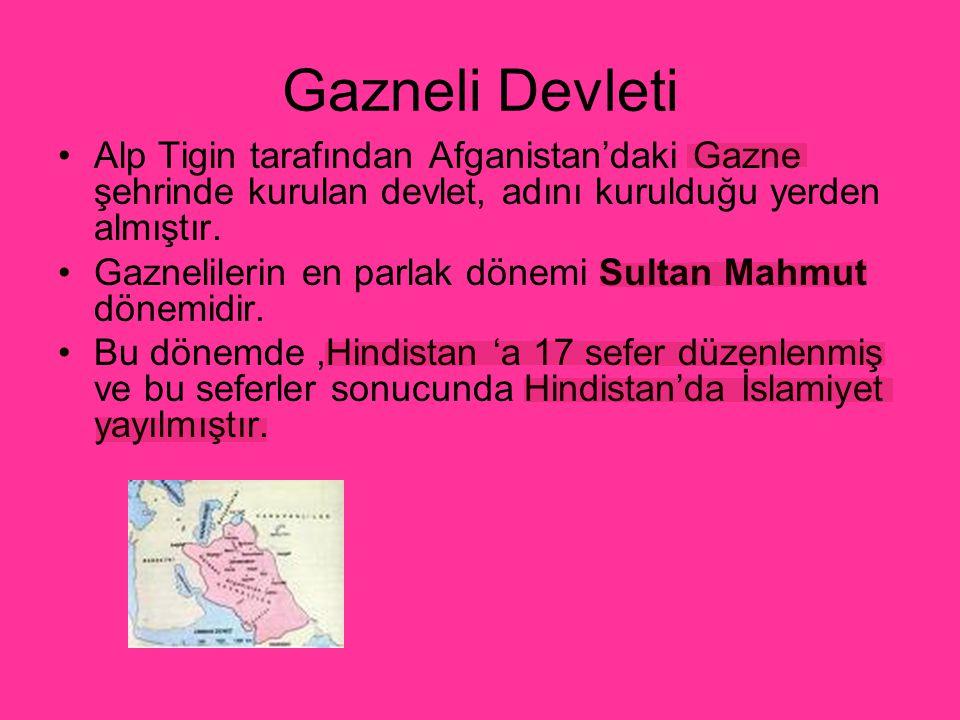 Gazneli Devleti Alp Tigin tarafından Afganistan'daki Gazne şehrinde kurulan devlet, adını kurulduğu yerden almıştır. Gaznelilerin en parlak dönemi Sul