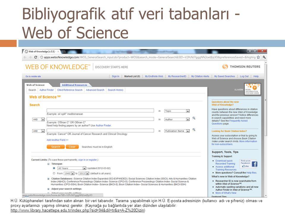 Bibliyografik atıf veri tabanları - Web of Science H.Ü. Kütüphaneleri tarafından satın alınan bir veri tabanıdır. Tarama yapabilmek için H.Ü. E-posta