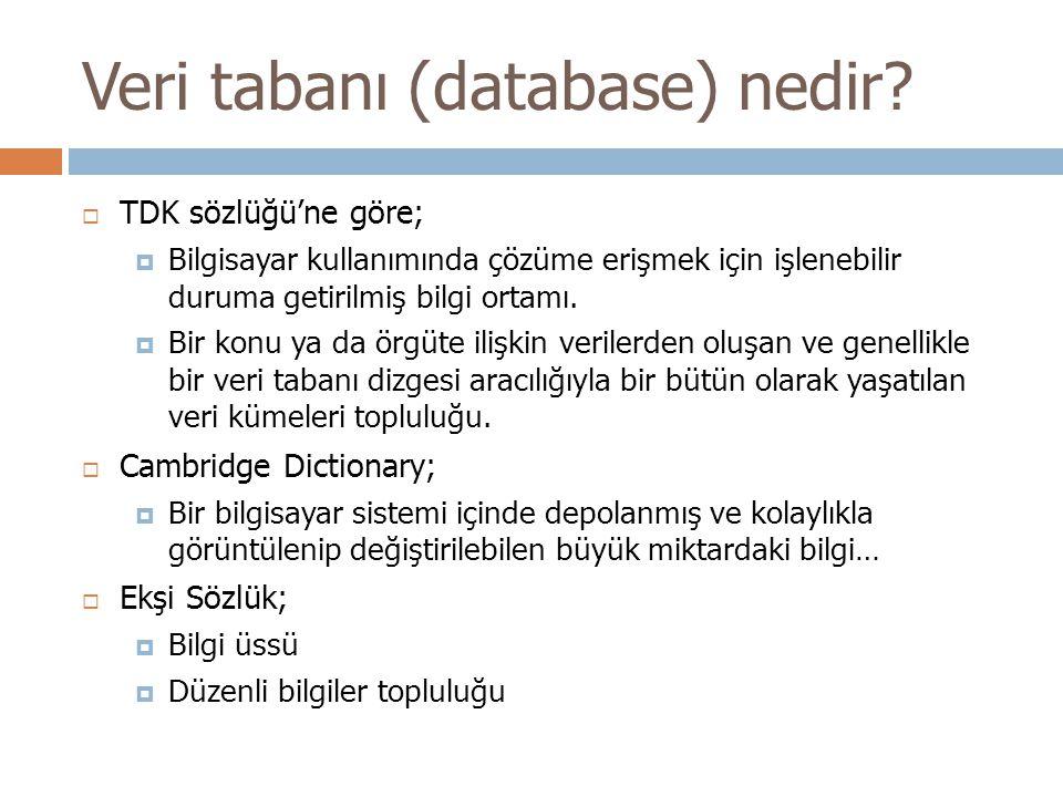 Veri tabanı (database) nedir?  TDK sözlüğü'ne göre;  Bilgisayar kullanımında çözüme erişmek için işlenebilir duruma getirilmiş bilgi ortamı.  Bir k