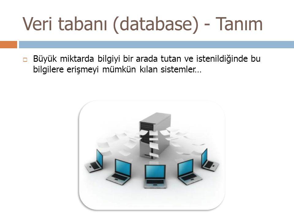Veri tabanı (database) - Tanım  Büyük miktarda bilgiyi bir arada tutan ve istenildiğinde bu bilgilere erişmeyi mümkün kılan sistemler…