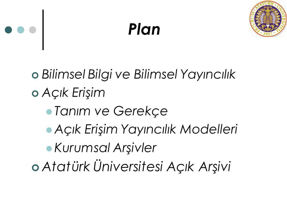 Plan Bilimsel Bilgi ve Bilimsel Yayıncılık Açık Erişim Tanım ve Gerekçe Açık Erişim Yayıncılık Modelleri Kurumsal Arşivler Atatürk Üniversitesi Açık A