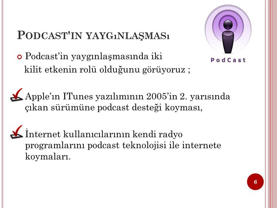 P ODCAST AVANTAJLARı Podcast sayesinde, yayını istediğiniz zaman, istediğiniz yerde dinleyebilirsiniz.