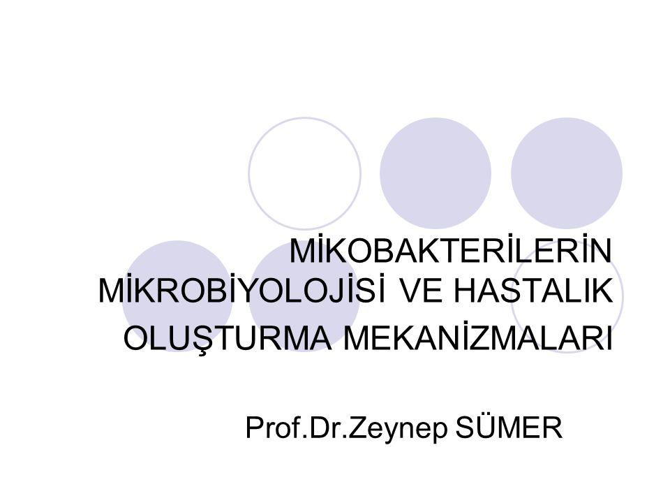 MİKOBAKTERİLERİN MİKROBİYOLOJİSİ VE HASTALIK OLUŞTURMA MEKANİZMALARI Prof.Dr.Zeynep SÜMER