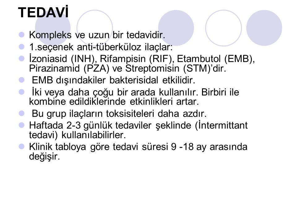 TEDAVİ Kompleks ve uzun bir tedavidir. 1.seçenek anti-tüberküloz ilaçlar: İzoniasid (INH), Rifampisin (RIF), Etambutol (EMB), Pirazinamid (PZA) ve Str