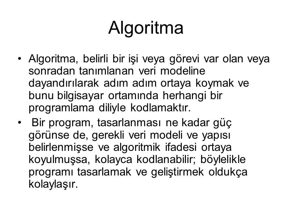 Algoritma Algoritma, belirli bir işi veya görevi var olan veya sonradan tanımlanan veri modeline dayandırılarak adım adım ortaya koymak ve bunu bilgis