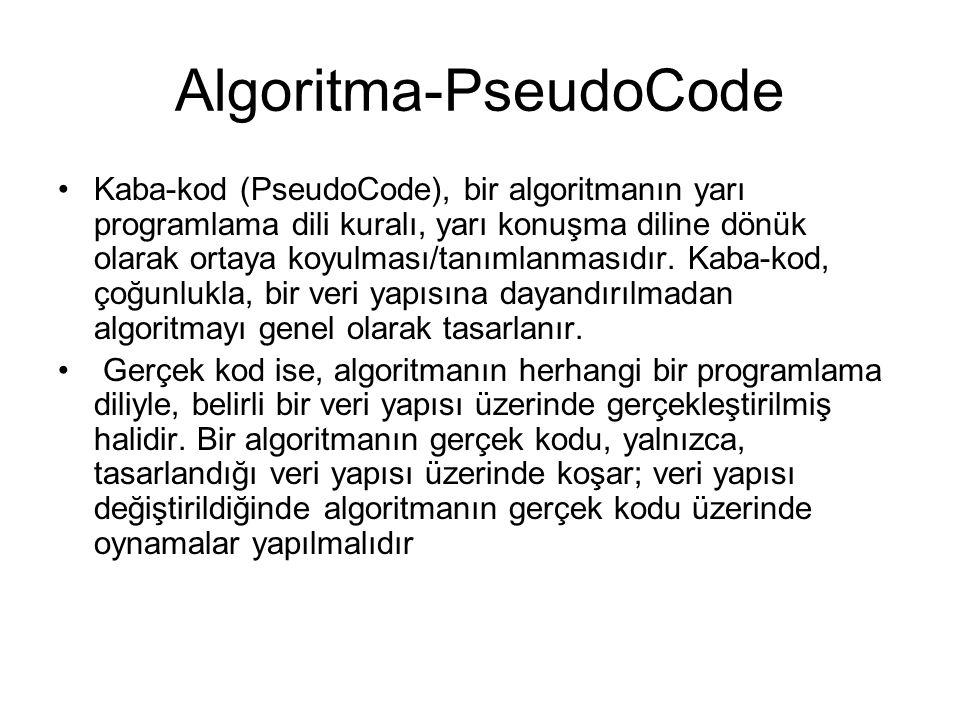 Algoritma-PseudoCode Kaba-kod (PseudoCode), bir algoritmanın yarı programlama dili kuralı, yarı konuşma diline dönük olarak ortaya koyulması/tanımlanm