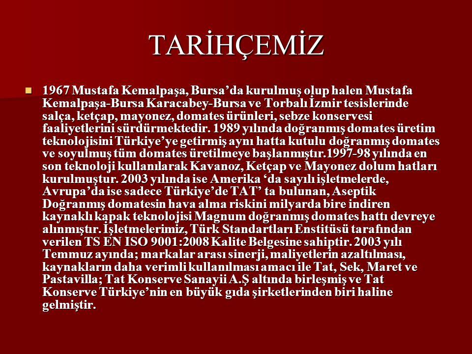 TARİHÇEMİZ 1967 Mustafa Kemalpaşa, Bursa'da kurulmuş olup halen Mustafa Kemalpaşa-Bursa Karacabey-Bursa ve Torbalı İzmir tesislerinde salça, ketçap, mayonez, domates ürünleri, sebze konservesi faaliyetlerini sürdürmektedir.