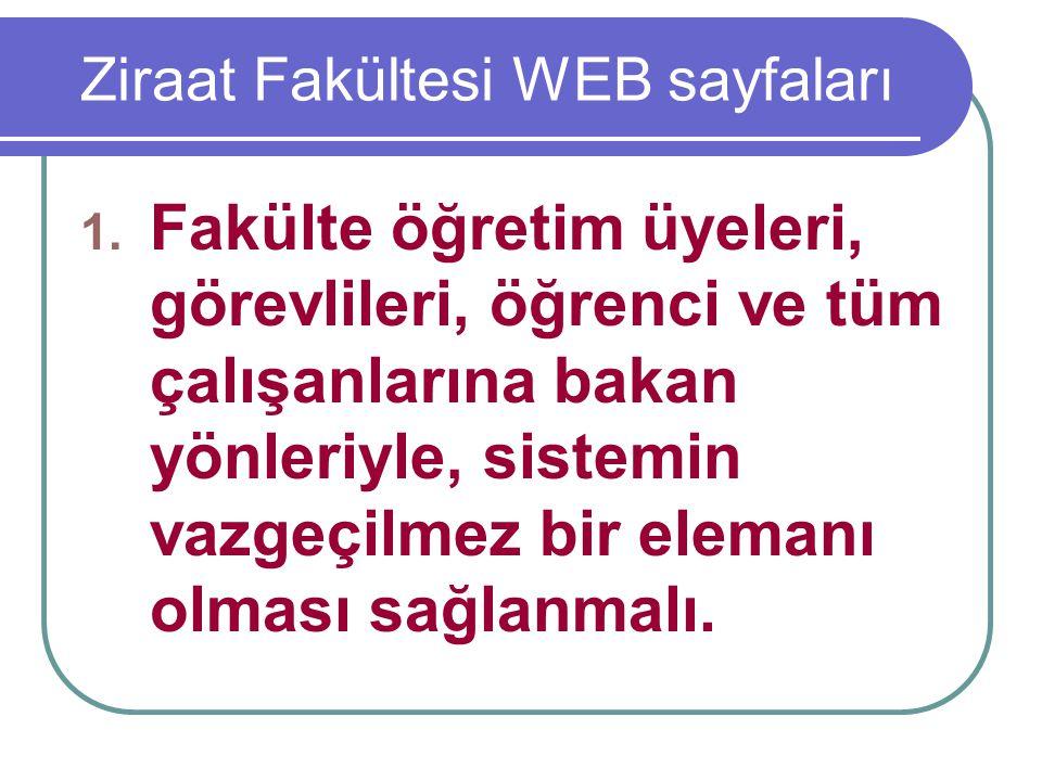 Ziraat Fakültesi WEB sayfaları 1. Fakülte öğretim üyeleri, görevlileri, öğrenci ve tüm çalışanlarına bakan yönleriyle, sistemin vazgeçilmez bir eleman