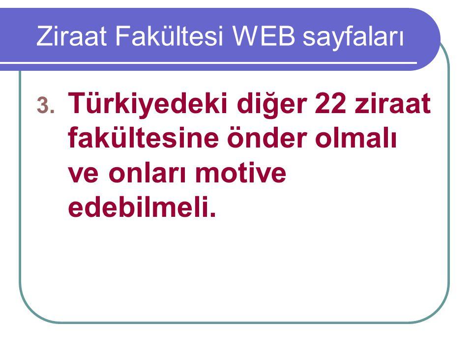 Ziraat Fakültesi WEB sayfaları 3. Türkiyedeki diğer 22 ziraat fakültesine önder olmalı ve onları motive edebilmeli.