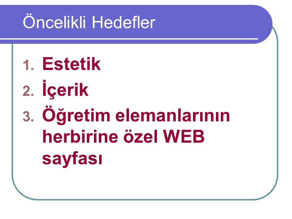 Öncelikli Hedefler 1. Estetik 2. İçerik 3. Öğretim elemanlarının herbirine özel WEB sayfası