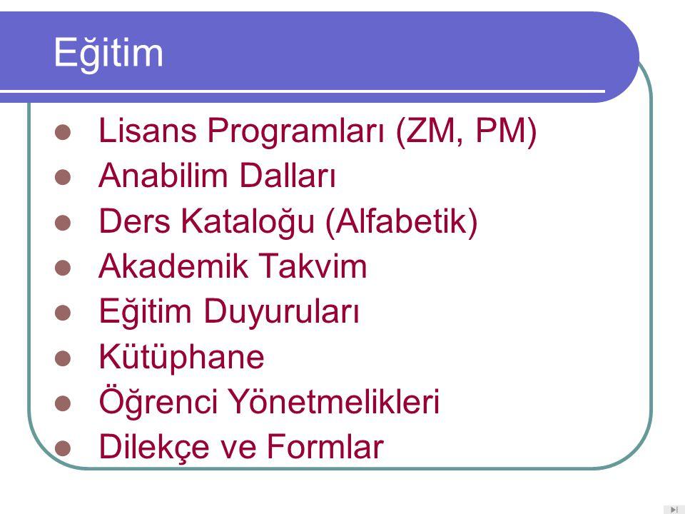 Eğitim Lisans Programları (ZM, PM) Anabilim Dalları Ders Kataloğu (Alfabetik) Akademik Takvim Eğitim Duyuruları Kütüphane Öğrenci Yönetmelikleri Dilekçe ve Formlar