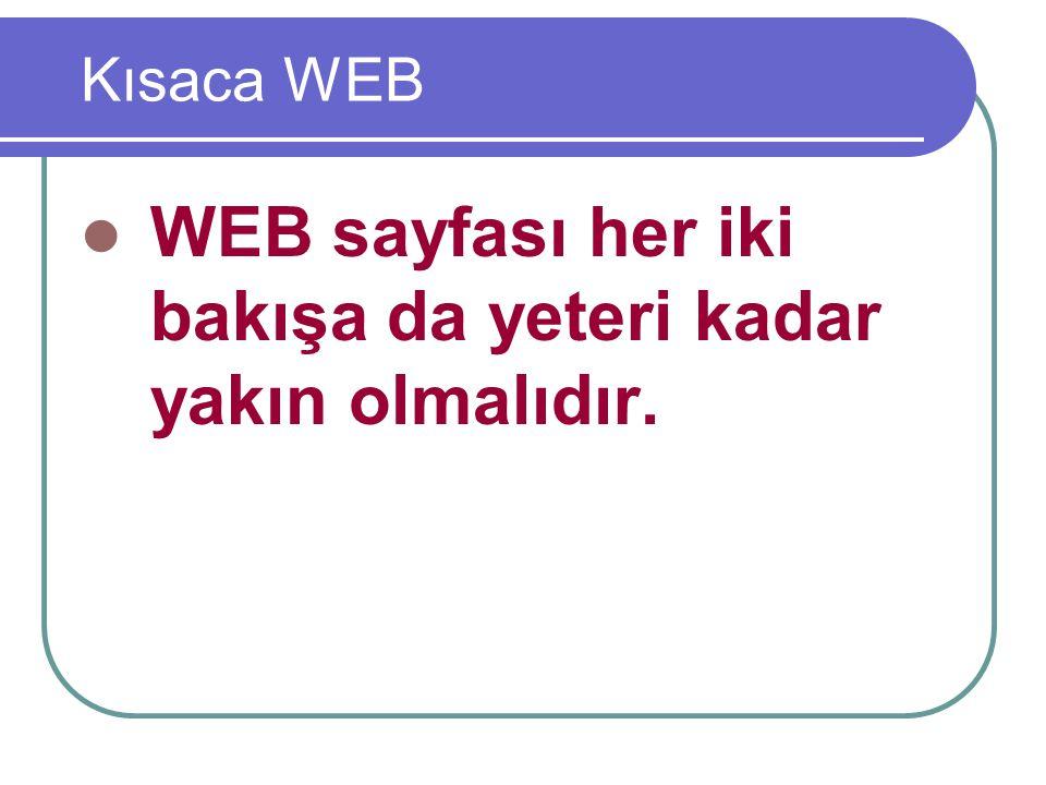 Kısaca WEB WEB sayfası her iki bakışa da yeteri kadar yakın olmalıdır.