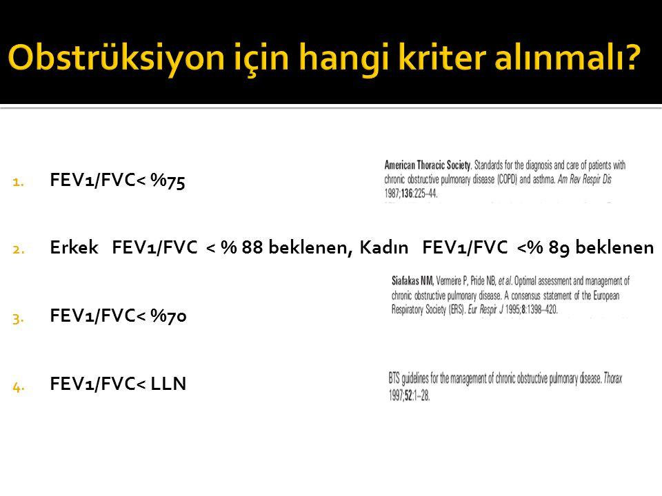 1. FEV1/FVC< %75 2. Erkek FEV1/FVC < % 88 beklenen, Kadın FEV1/FVC <% 89 beklenen 3. FEV1/FVC< %70 4. FEV1/FVC< LLN