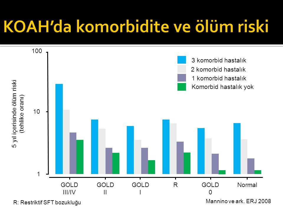 Mannino ve ark. ERJ 2008 1 10 100 5 yıl içerisinde ölüm riski (tehlike oranı) GOLD 0 GOLD II GOLD III/IV RGOLD I Komorbid hastalık yok 1 komorbid hast