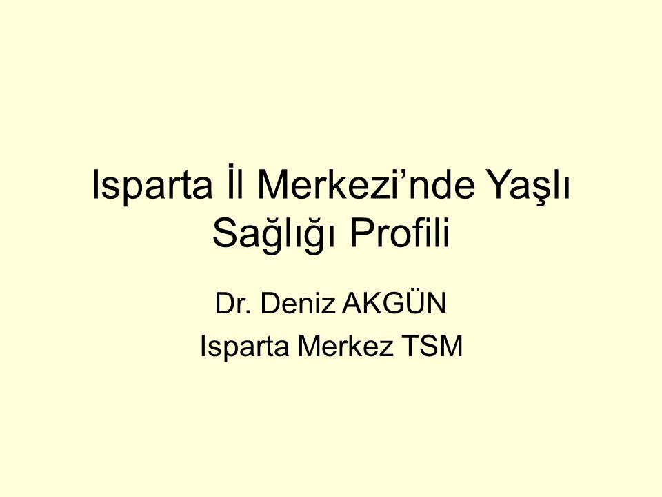 Sonuç Isparta da yaşlı sağlığının geliştirilmesine yönelik çalışmalara gereksinim duyulduğu düşünülmektedir.