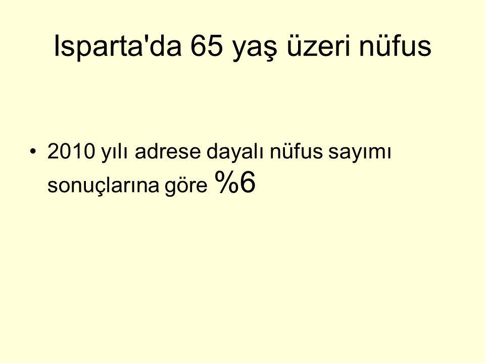 Isparta da 65 yaş üzeri nüfus 2010 yılı adrese dayalı nüfus sayımı sonuçlarına göre %6