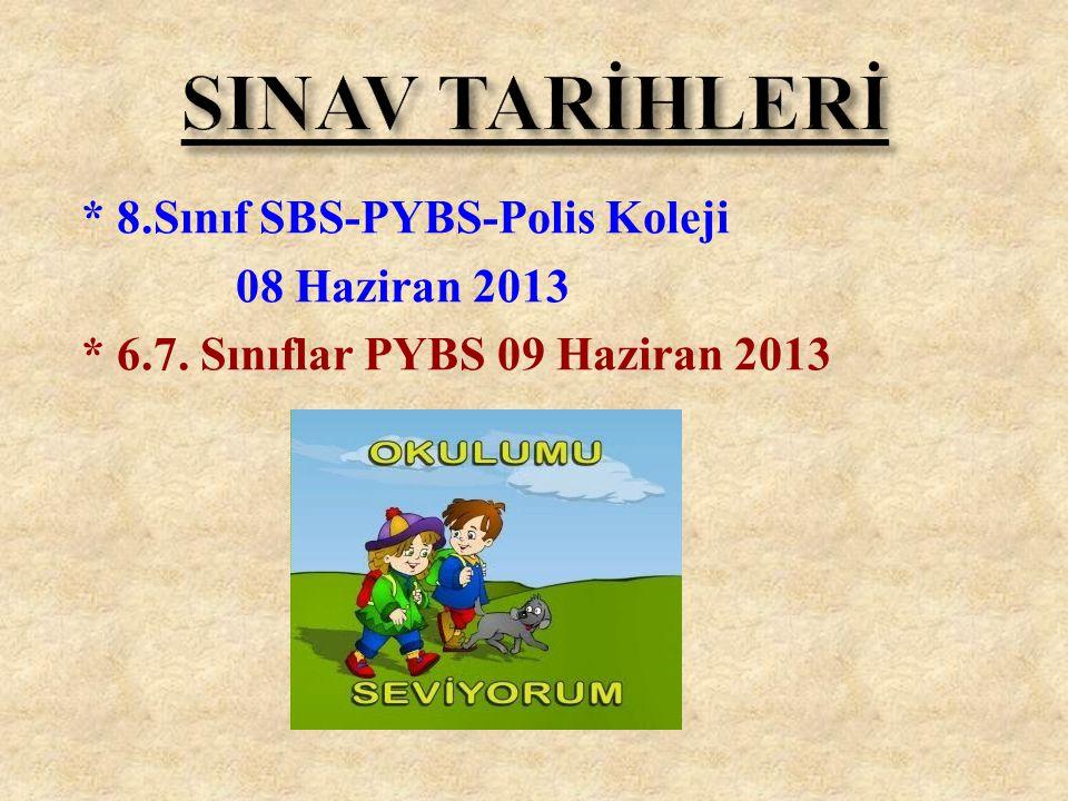 * 8.Sınıf SBS-PYBS-Polis Koleji 08 Haziran 2013 * 6.7. Sınıflar PYBS 09 Haziran 2013
