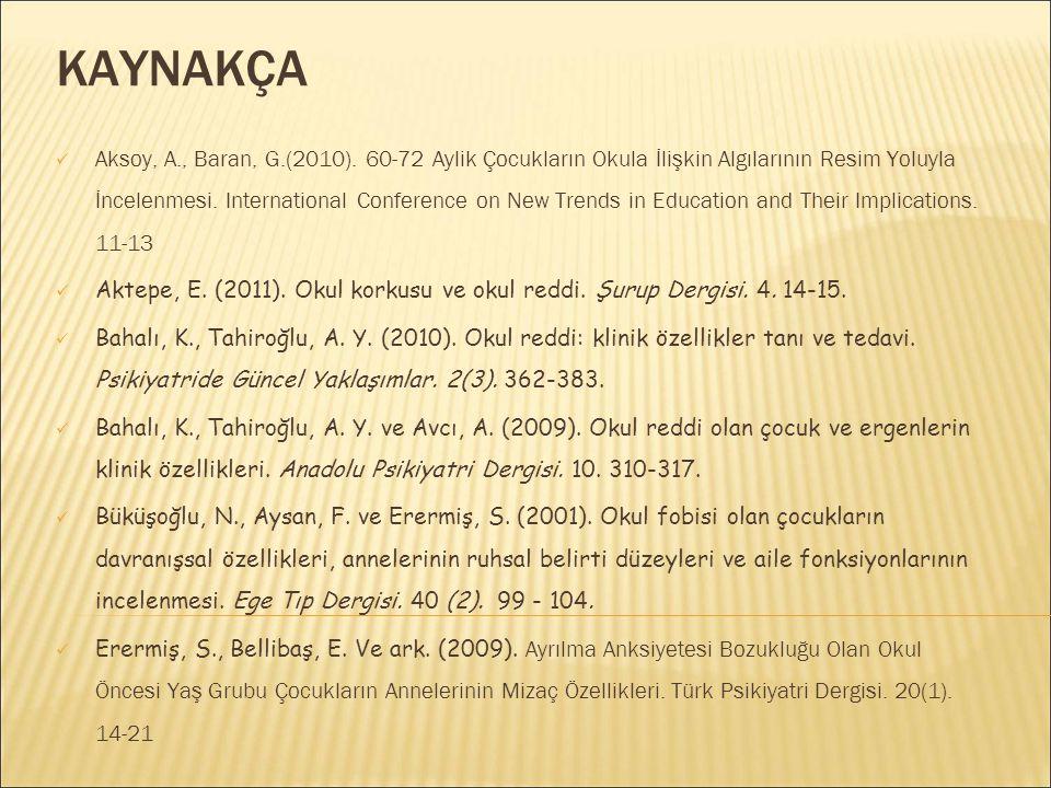 KAYNAKÇA Aksoy, A., Baran, G.(2010). 60-72 Aylik Çocukların Okula İlişkin Algılarının Resim Yoluyla İncelenmesi. International Conference on New Trend