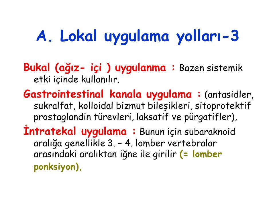 A. Lokal uygulama yolları-3 Bukal (ağız- içi ) uygulanma : Bazen sistemik etki içinde kullanılır. Gastrointestinal kanala uygulama : (antasidler, sukr