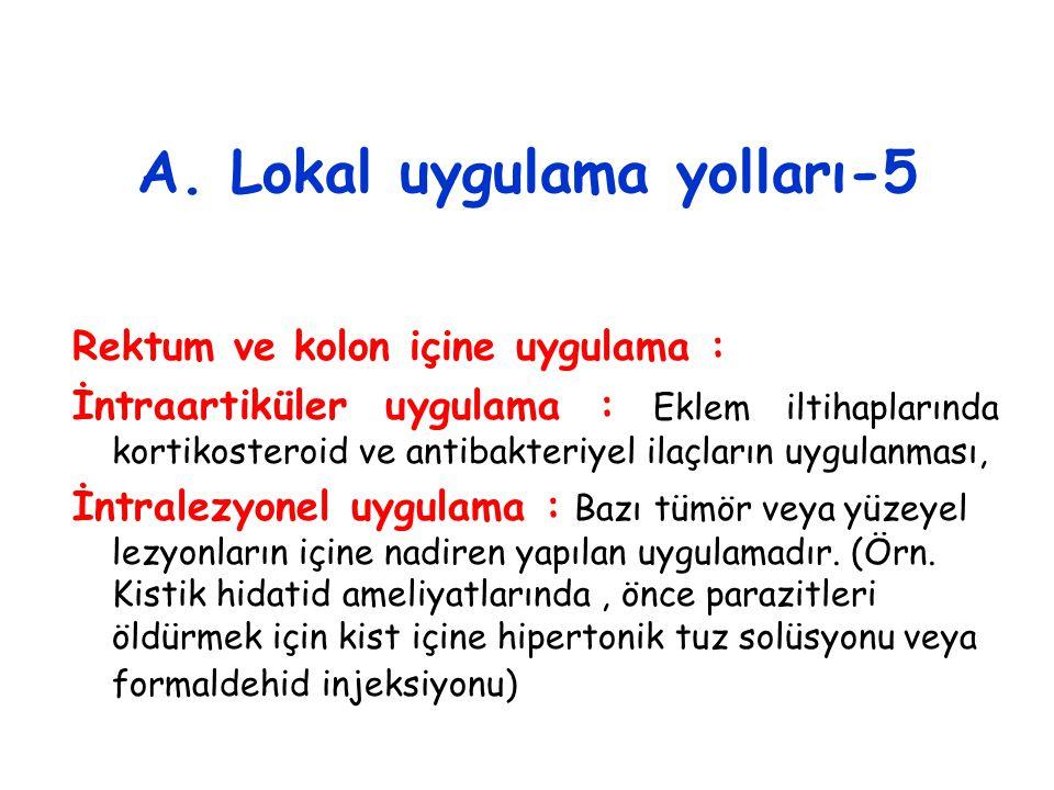 A. Lokal uygulama yolları-5 Rektum ve kolon içine uygulama : İntraartiküler uygulama : Eklem iltihaplarında kortikosteroid ve antibakteriyel ilaçların