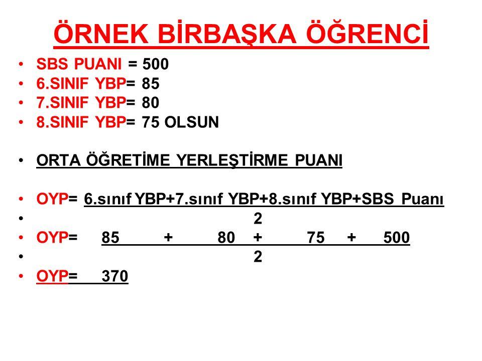 ÖRNEK BİRBAŞKA ÖĞRENCİ SBS PUANI = 500 6.SINIF YBP= 85 7.SINIF YBP= 80 8.SINIF YBP= 75 OLSUN ORTA ÖĞRETİME YERLEŞTİRME PUANI OYP= 6.sınıf YBP+7.sınıf YBP+8.sınıf YBP+SBS Puanı 2 OYP= 85 + 80 + 75 + 500 2 OYP= 370