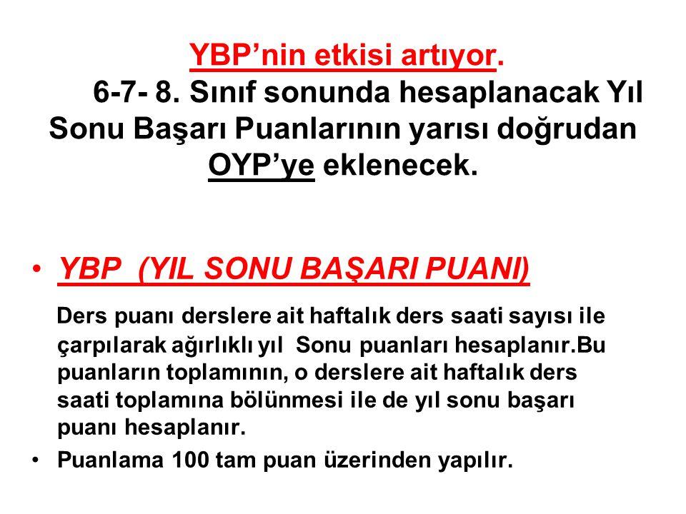YBP'nin etkisi artıyor. 6-7- 8.