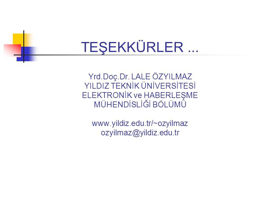 TEŞEKKÜRLER... Yrd.Doç.Dr. LALE ÖZYILMAZ YILDIZ TEKNİK ÜNİVERSİTESİ ELEKTRONİK ve HABERLEŞME MÜHENDİSLİĞİ BÖLÜMÜ www.yildiz.edu.tr/~ozyilmaz ozyilmaz@