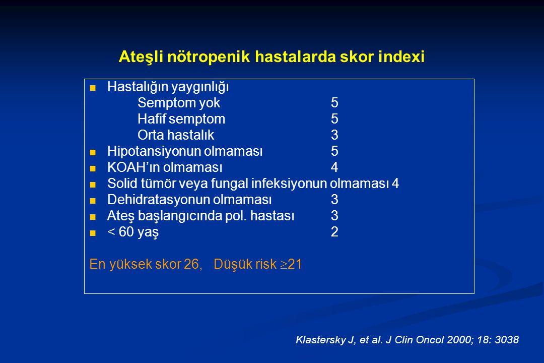 Ateşli nötropenik hastalarda skor indexi Hastalığın yaygınlığı Semptom yok5 Hafif semptom5 Orta hastalık3 Hipotansiyonun olmaması5 KOAH'ın olmaması4 Solid tümör veya fungal infeksiyonun olmaması 4 Dehidratasyonun olmaması3 Ateş başlangıcında pol.