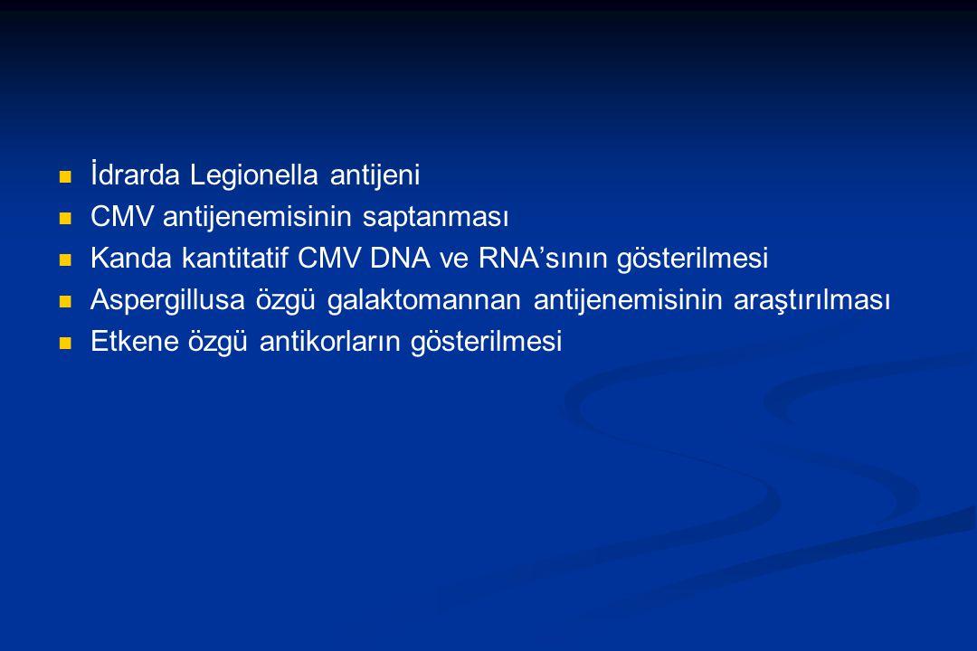 İdrarda Legionella antijeni CMV antijenemisinin saptanması Kanda kantitatif CMV DNA ve RNA'sının gösterilmesi Aspergillusa özgü galaktomannan antijene