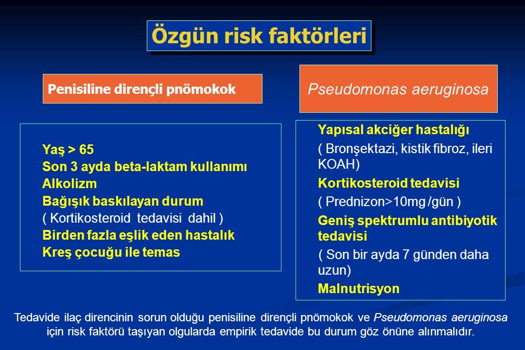 Penisiline dirençli pnömokok Yaş > 65 Son 3 ayda beta-laktam kullanımı Alkolizm Bağışık baskılayan durum ( Kortikosteroid tedavisi dahil ) Birden fazla eşlik eden hastalık Kreş çocuğu ile temas Yapısal akciğer hastalığı ( Bronşektazi, kistik fibroz, ileri KOAH) Kortikosteroid tedavisi ( Prednizon>10mg /gün ) Geniş spektrumlu antibiyotik tedavisi ( Son bir ayda 7 günden daha uzun) Malnutrisyon Pseudomonas aeruginosa Özgün risk faktörleri Tedavide ilaç direncinin sorun olduğu penisiline dirençli pnömokok ve Pseudomonas aeruginosa için risk faktörü taşıyan olgularda empirik tedavide bu durum göz önüne alınmalıdır.