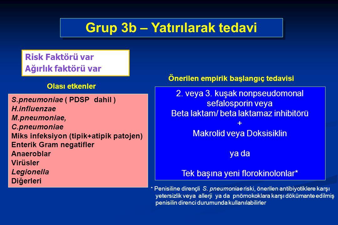 S.pneumoniae ( PDSP dahil ) H.influenzae M.pneumoniae, C.pneumoniae Miks infeksiyon (tipik+atipik patojen) Enterik Gram negatifler Anaeroblar Virüsler Legionella Diğerleri Risk Faktörü var Ağırlık faktörü var Grup 3b – Yatırılarak tedavi 2.