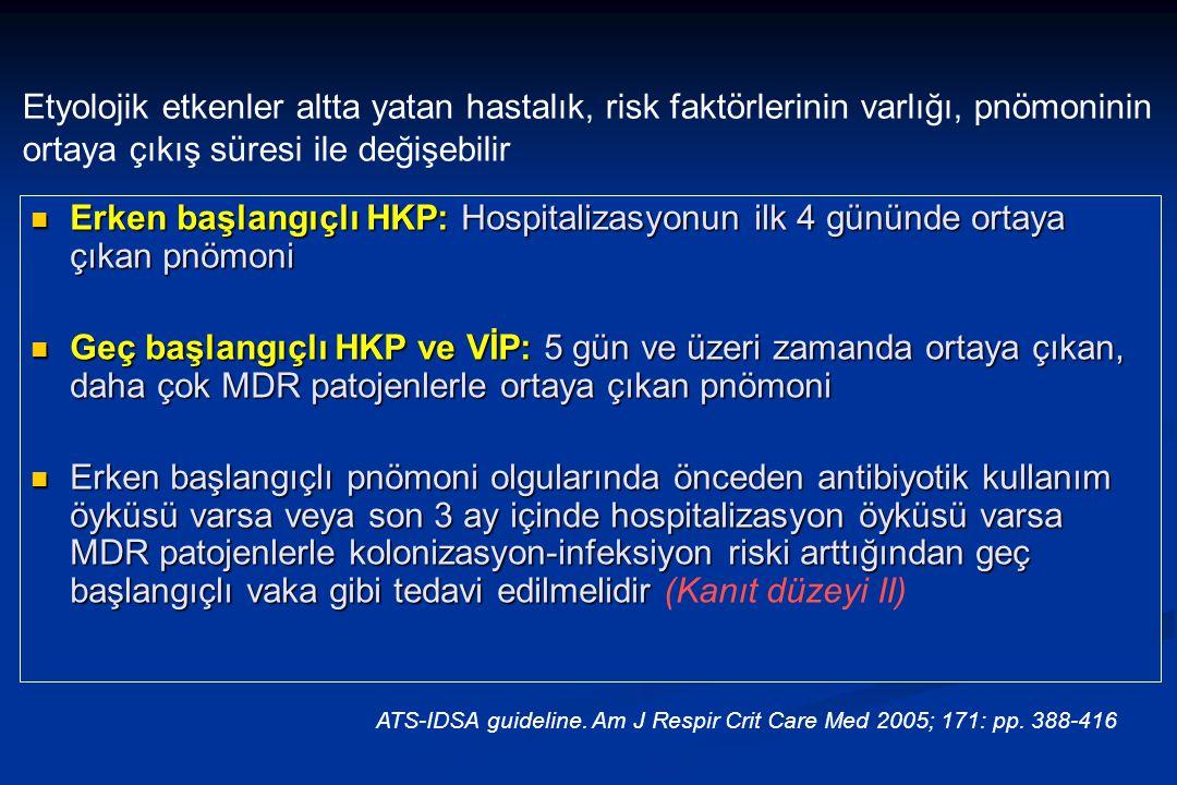 Erken başlangıçlı HKP: Hospitalizasyonun ilk 4 gününde ortaya çıkan pnömoni Erken başlangıçlı HKP: Hospitalizasyonun ilk 4 gününde ortaya çıkan pnömoni Geç başlangıçlı HKP ve VİP: 5 gün ve üzeri zamanda ortaya çıkan, daha çok MDR patojenlerle ortaya çıkan pnömoni Geç başlangıçlı HKP ve VİP: 5 gün ve üzeri zamanda ortaya çıkan, daha çok MDR patojenlerle ortaya çıkan pnömoni Erken başlangıçlı pnömoni olgularında önceden antibiyotik kullanım öyküsü varsa veya son 3 ay içinde hospitalizasyon öyküsü varsa MDR patojenlerle kolonizasyon-infeksiyon riski arttığından geç başlangıçlı vaka gibi tedavi edilmelidir Erken başlangıçlı pnömoni olgularında önceden antibiyotik kullanım öyküsü varsa veya son 3 ay içinde hospitalizasyon öyküsü varsa MDR patojenlerle kolonizasyon-infeksiyon riski arttığından geç başlangıçlı vaka gibi tedavi edilmelidir (Kanıt düzeyi II) ATS-IDSA guideline.